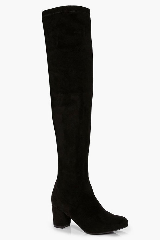 <title>ファッションブランド 売り出し カジュアル ファッション スニーカー ブーフー BOOHOO ヒール ハイ ブーツ 黒色 ブラック BLOCK HEEL STRETCH KNEE HIGH BOOTS BLACK</title>
