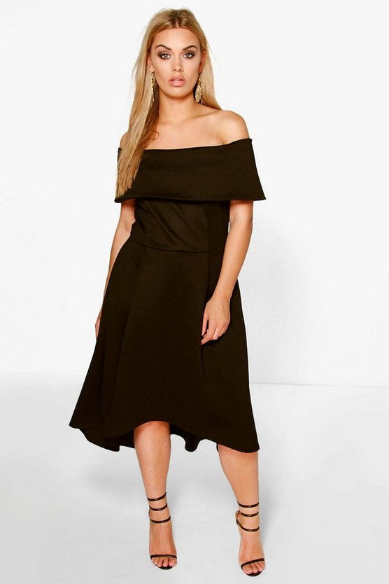 BOOHOO BASICS ドレス 黒 ブラック 【 BLACK BOOHOO BASICS PLUS DOUBLE LAYER MIDI DRESS 】 レディースファッション ワンピース
