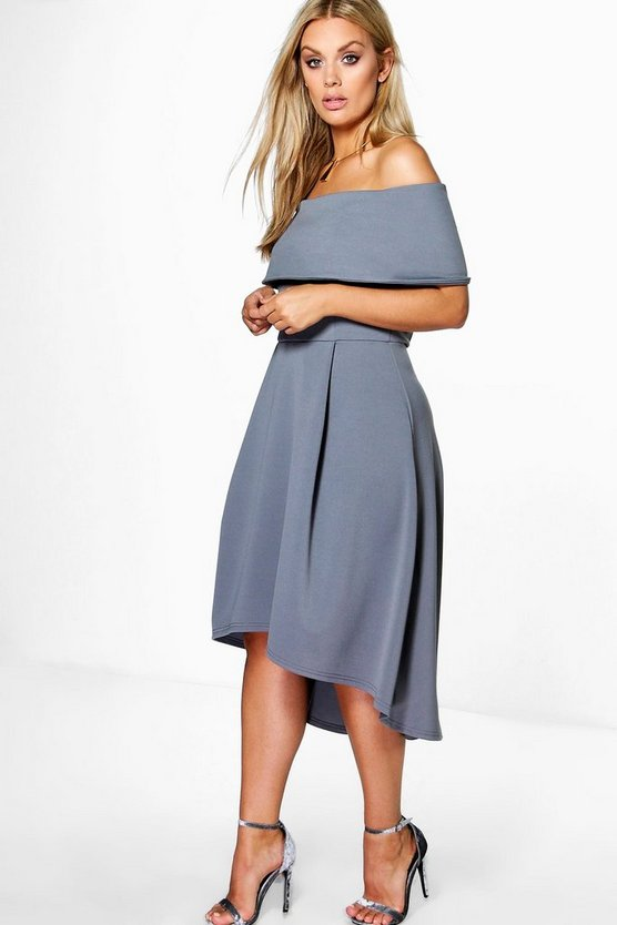 BOOHOO BASICS ドレス 【 BOOHOO BASICS PLUS DOUBLE LAYER MIDI DRESS SMOKE 】 レディースファッション ワンピース