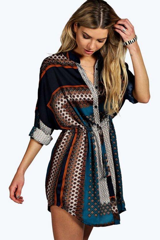 ブーフー BOOHOO ドレス 【 BOOHOO PAISLEY SHIRT DRESS TEAL 】 レディースファッション ワンピース