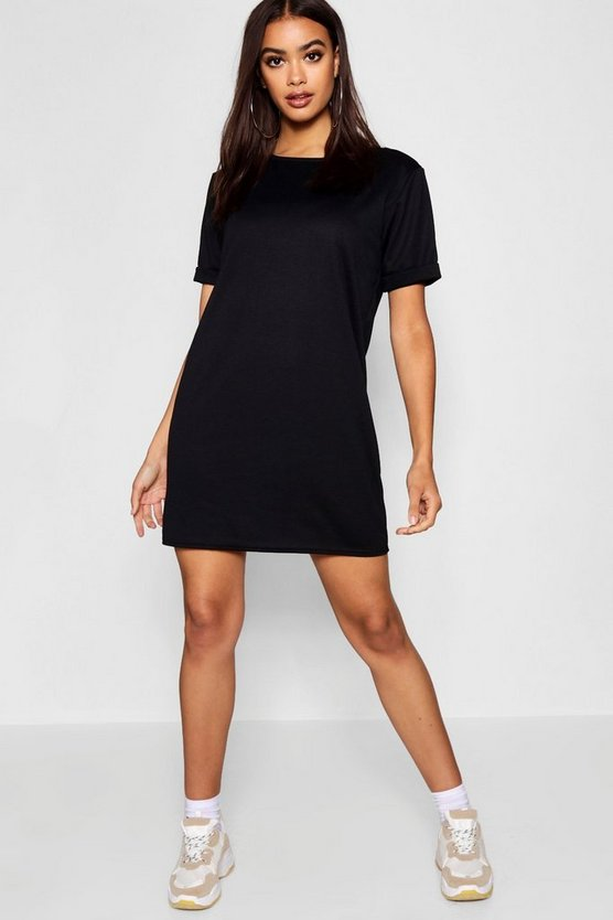 BOOHOO BASICS 【 ROLL BACK PONTE SHIFT DRESS BLACK 】 レディースファッション ワンピース