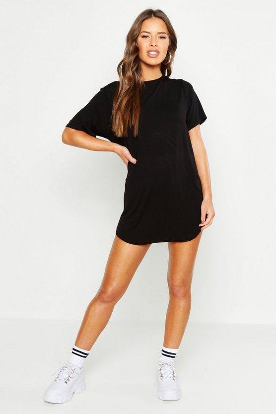 ブーフープチ BOOHOO PETITE Tシャツ 【 CURVED HEM TSHIRT DRESS BLACK 】 レディースファッション ワンピース