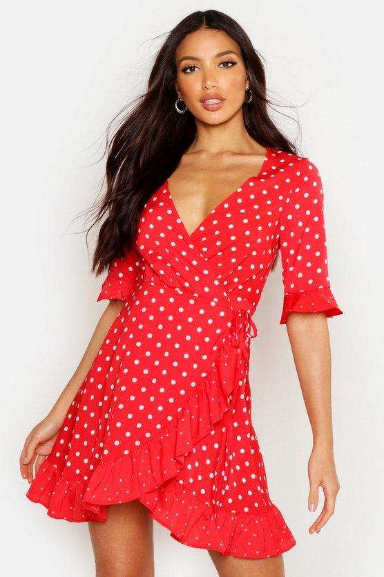 ブーフー BOOHOO ラップ 【 WRAP MIXED POLKA DOT FRONT TEA DRESS RED 】 レディースファッション ワンピース 送料無料