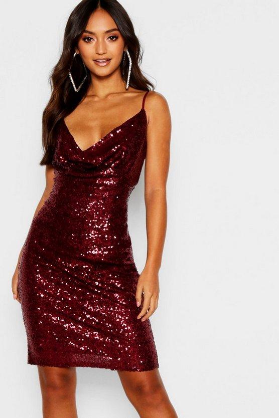 ブーフープチ BOOHOO PETITE ドレス レディースファッション ワンピース レディース 【 Petite Sequin Cowl Neck Midi Dress 】 Berry