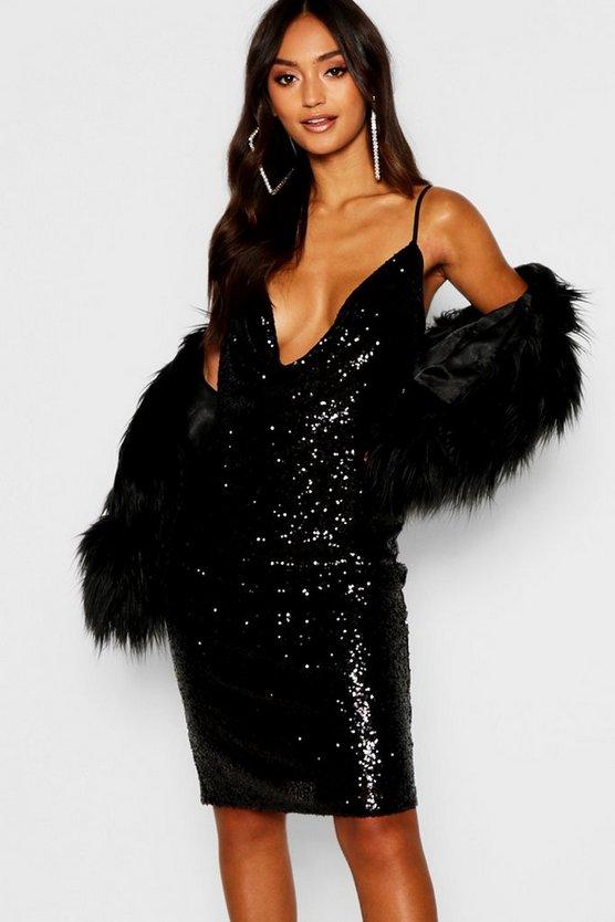 ブーフープチ BOOHOO PETITE ドレス レディースファッション ワンピース レディース 【 Petite Sequin Cowl Neck Midi Dress 】 Black
