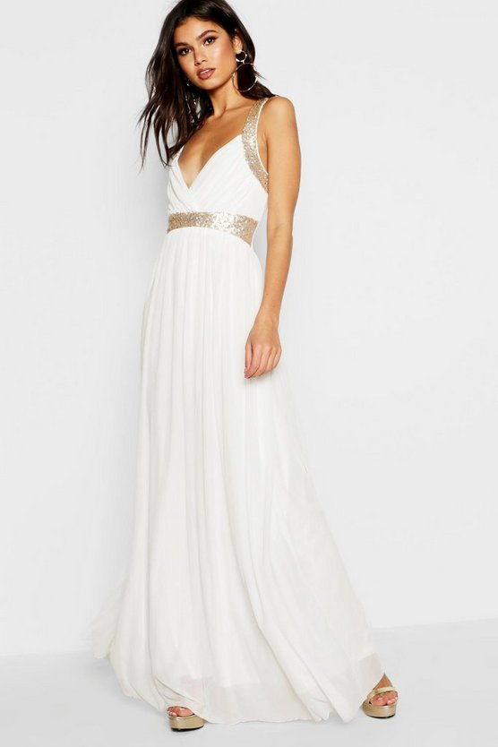 BOOHOO BOUTIQUE ドレス 【 BOOHOO BOUTIQUE SEQUIN PANEL MAXI BRIDESMAID DRESS IVORY 】 レディースファッション ワンピース