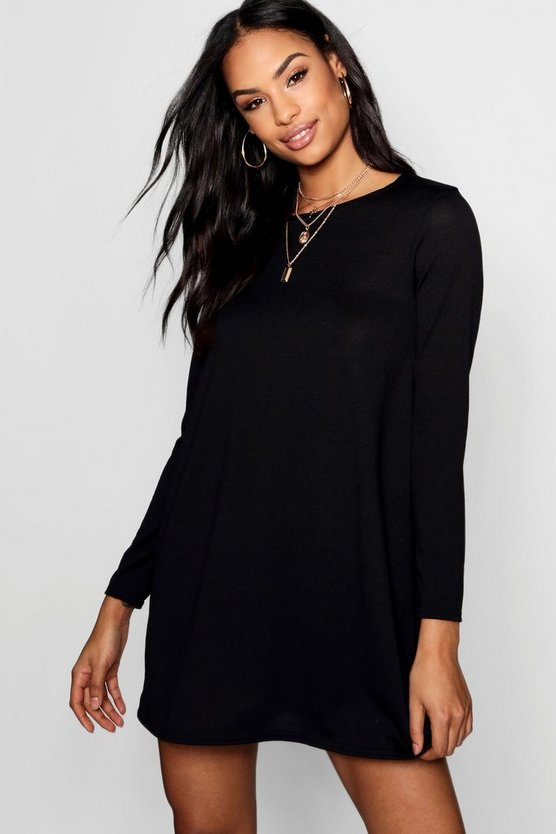 BOOHOO BASICS スウィング ドレス レディースファッション ワンピース レディース 【 Knitted Swing Dress 】 Black