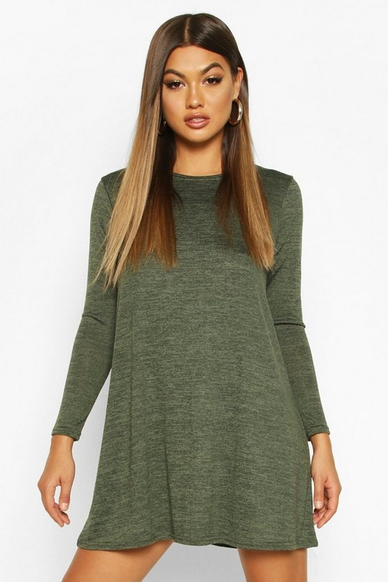 BOOHOO BASICS スウィング ドレス レディースファッション ワンピース レディース 【 Knitted Swing Dress 】 Olive