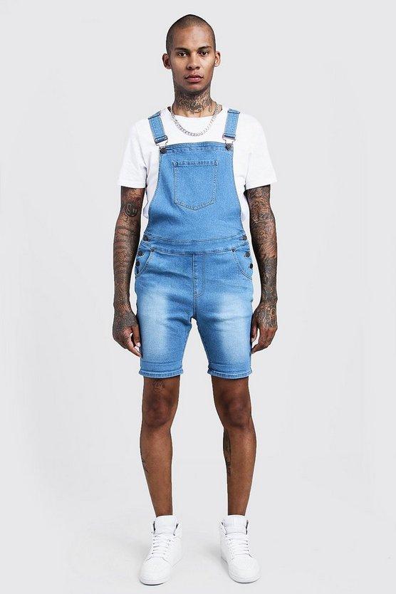 BOOHOOMAN スリム デニム ショーツ ハーフパンツ 青 ブルー 【 SLIM BLUE BOOHOOMAN FIT DENIM DUNGAREE SHORTS 】 メンズファッション ズボン パンツ