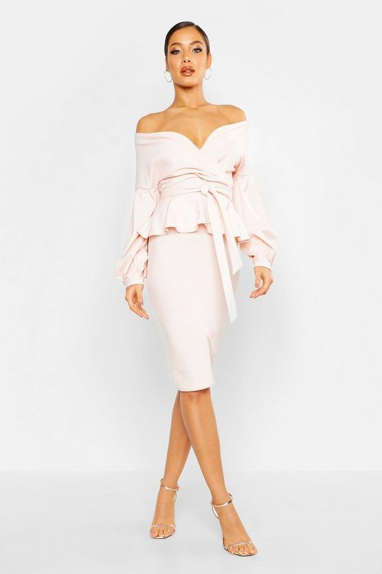 ブーフー BOOHOO ラップ ドレス 【 WRAP BOOHOO OFF THE SHOULDER PEPLUM MIDI DRESS BLUSH 】 レディースファッション ドレス