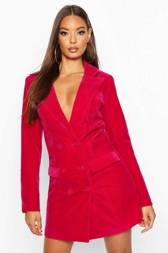 ブーフー BOOHOO ブレーザー ブレイザー ドレス 【 BOOHOO VELVET DOUBLE BREASTED BLAZER TUX DRESS FUCHSIA 】 レディースファッション ドレス
