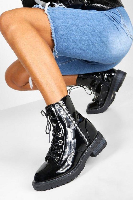 ブーフー BOOHOO パテント レディース 【 Patent Stud Hiker Boots 】 Black