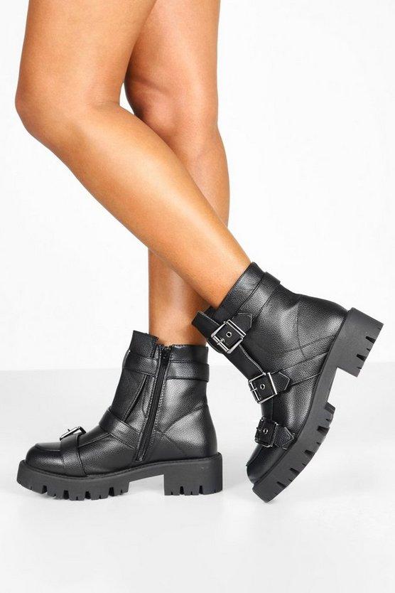 ブーフー BOOHOO バックル レディース 【 Buckle Trim Cleated Hiker Boots 】 Black