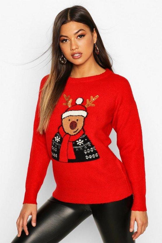 ブーフー BOOHOO 【 SEQUIN DETAIL REINDEER CHRISTMAS JUMPER RED 】 レディースファッション トップス 送料無料