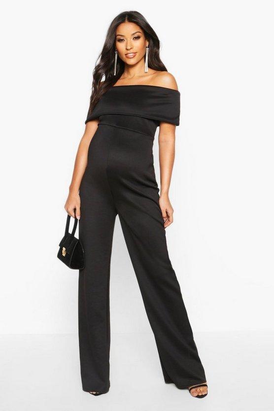 BOOHOO MATERNITY レディースファッション オールインワン サロペット レディース 【 Maternity Bardot Wide Leg Jumpsuit 】 Black
