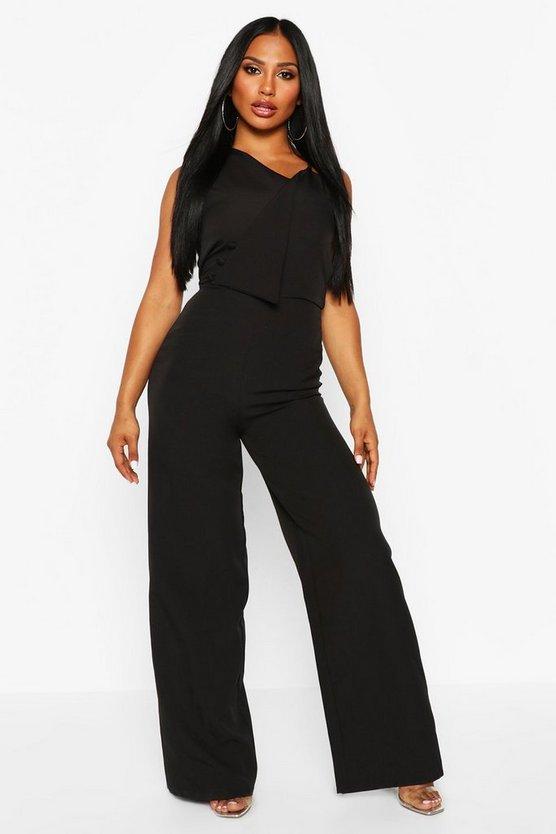 ブーフー BOOHOO レディースファッション オールインワン サロペット レディース 【 One Shoulder Wide Leg Jumpsuit 】 Black