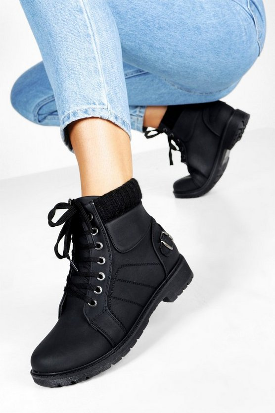 ブーフー BOOHOO レディース 【 Lace Up Hiker Boots 】 Black
