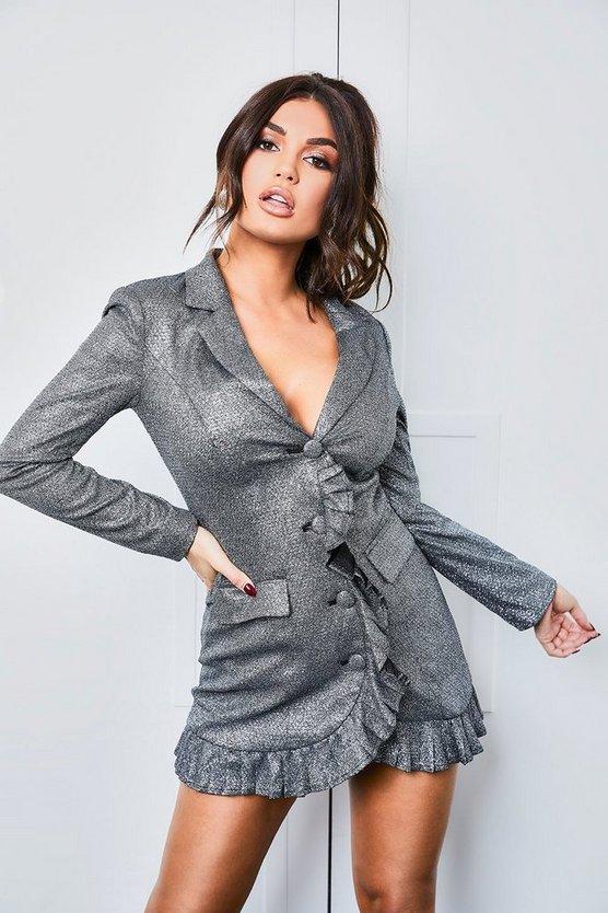 ブーフー BOOHOO ブレーザー ブレイザー ドレス 黒 ブラック 【 BLACK BOOHOO SPARKLE PLEATED BLAZER DRESS 】 レディースファッション ドレス