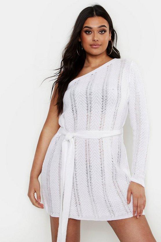 ブーフープラス BOOHOO PLUS ドレス 【 BOOHOO PLUS ONE SHOULDER MINI BEACH DRESS IVORY 】 レディースファッション ドレス