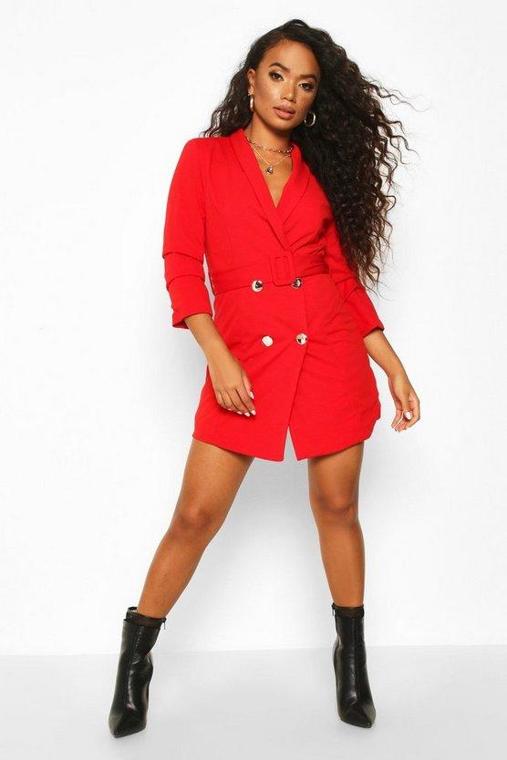 ブーフープチ BOOHOO PETITE ベルト ブレーザー ブレイザー 【 SELF BELT BUTTON BLAZER DRESS RED 】 レディースファッション ドレス