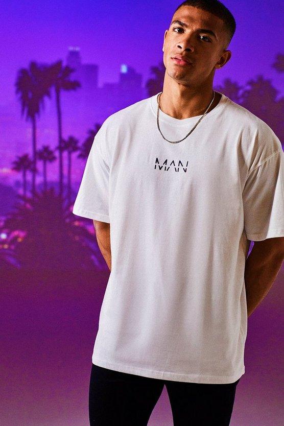 BOOHOOMAN Tシャツ 白 ホワイト 【 WHITE BOOHOOMAN OVERSIZED ORIGINAL MAN TSHIRT 】 メンズファッション トップス Tシャツ カットソー
