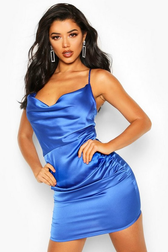 BOOHOO BOUTIQUE サテン ドレス 【 BOOHOO BOUTIQUE FLORENCE SATIN COWL NECK BODYCON DRESS COBALT 】 レディースファッション ワンピース