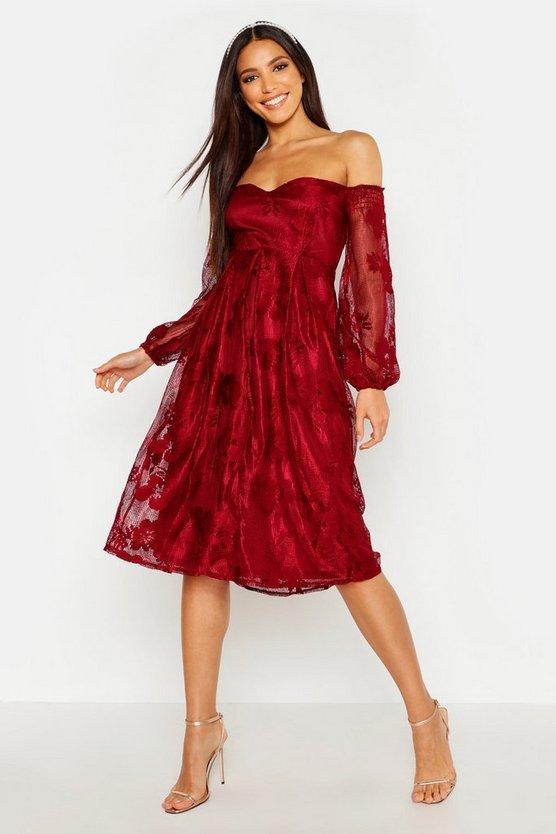BOOHOO BOUTIQUE ドレス 【 BOOHOO BOUTIQUE LACE BARDOT MIDI BRIDESMAID DRESS BERRY 】 レディースファッション ワンピース