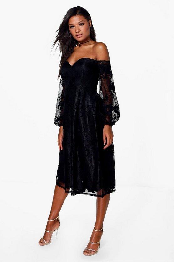 BOOHOO BOUTIQUE ドレス 黒 ブラック 【 BLACK BOOHOO BOUTIQUE LACE BARDOT MIDI BRIDESMAID DRESS 】 レディースファッション ワンピース