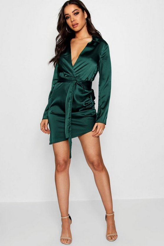 BOOHOO NIGHT サテン ラップ ドレス レディースファッション ワンピース レディース 【 Satin Wrap Detail Dress 】 Emerald