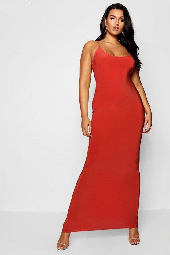 BOOHOO BASICS ドレス 赤 レッド 【 RED BOOHOO BASICS PLUS SLINKY STRAPPY MAXI DRESS 】 レディースファッション ワンピース