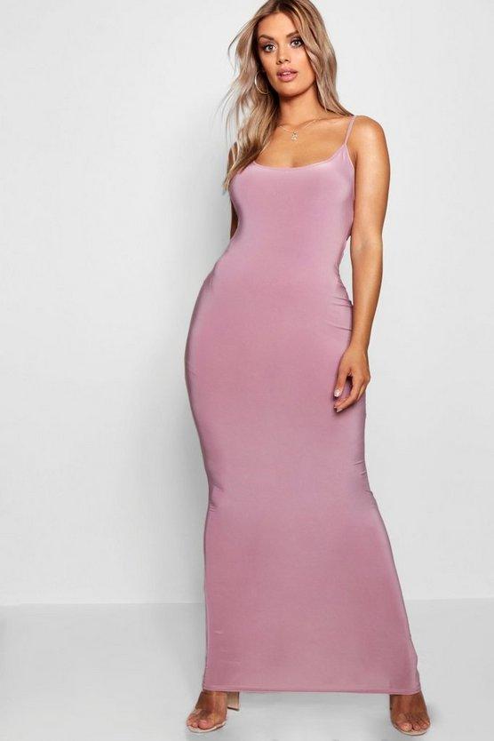 BOOHOO BASICS ドレス 【 BOOHOO BASICS PLUS SLINKY STRAPPY MAXI DRESS MAUVE 】 レディースファッション ワンピース