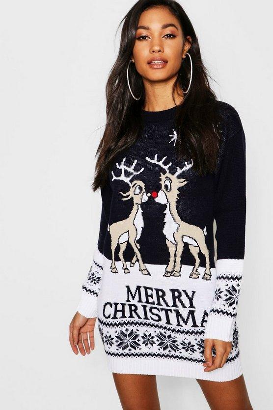 ブーフー BOOHOO 【 MERRY CHRISTMAS REINDEER JUMPER DRESS NAVY 】 レディースファッション ワンピース 送料無料