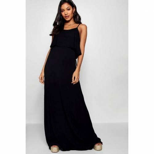 BOOHOO BASICS ドレス 黒 ブラック 【 BLACK BOOHOO BASICS TIE BACK MAXI DRESS 】 レディースファッション ワンピース