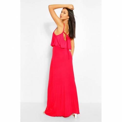 BOOHOO BASICS ドレス 赤 レッド 【 RED BOOHOO BASICS TIE BACK MAXI DRESS 】 レディースファッション ワンピース
