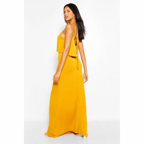 BOOHOO BASICS ドレス 【 BOOHOO BASICS TIE BACK MAXI DRESS MUSTARD 】 レディースファッション ワンピース