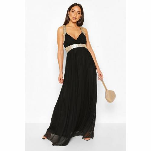 BOOHOO BOUTIQUE ドレス 黒 ブラック 【 BLACK BOOHOO BOUTIQUE SEQUIN PANEL MAXI BRIDESMAID DRESS 】 レディースファッション ワンピース