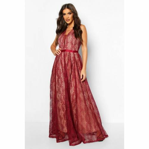 BOOHOO BOUTIQUE ドレス 【 BOOHOO BOUTIQUE LACE PLUNGE MAXI BRIDESMAID DRESS BERRY 】 レディースファッション ワンピース