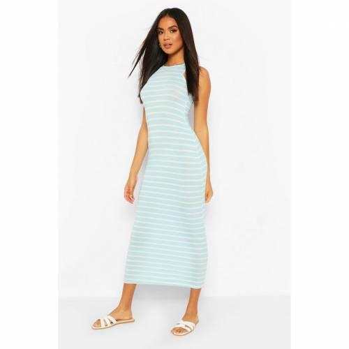 BOOHOO BASICS ドレス 青 ブルー 【 BLUE BOOHOO BASICS STRIPED CUT AWAY MAXI DRESS 】 レディースファッション ドレス