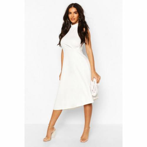 BOOHOO BOUTIQUE ハイ ドレス 【 BOOHOO BOUTIQUE HIGH NECK ASYMMETRIC MIDI SKATER DRESS IVORY 】 レディースファッション ワンピース
