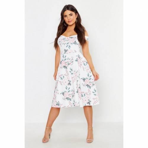 【送料0円】 ブーフー BOOHOO ドレス レディースファッション レディース 【 Off The Shoulder Midi Skater Dress 】 White, barret 577d1490