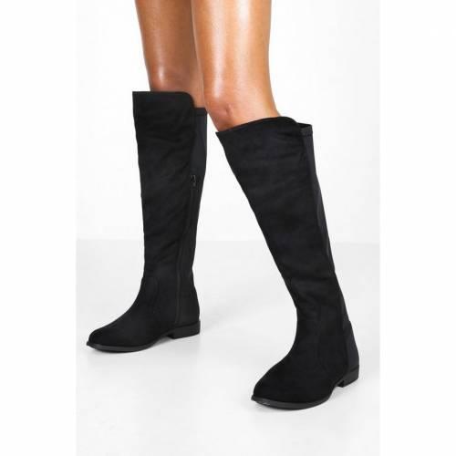 <title>ファッションブランド カジュアル ファッション スニーカー ブーフー BOOHOO ハイ 黒 ブラック BLACK WIDE FIT WIDER CALF KNEE HIGH 超特価 BOOTS</title>