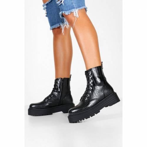 ファッションブランド ●スーパーSALE● セール期間限定 カジュアル ファッション スニーカー ブーフー 買い取り BOOHOO 黒 BLACK SOLE CHUNKY ブラック BOOTS CROC HIKER