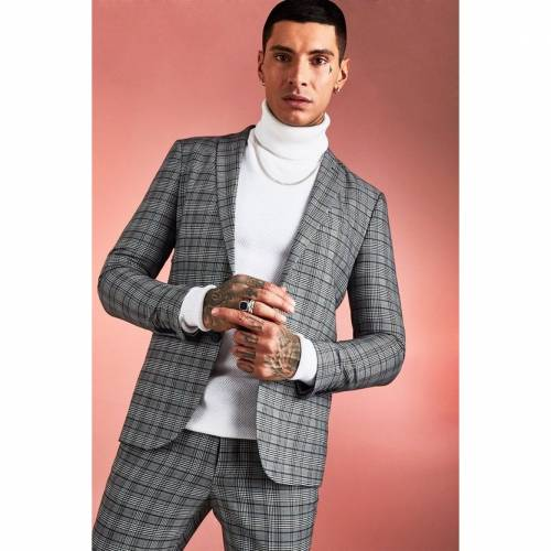 BOOHOOMAN 茶 ブラウン 【 BROWN BOOHOOMAN SKINNY FIT HERITAGE CHECK SUIT JACKET 】 メンズファッション コート ジャケット