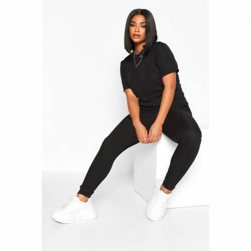 ブーフー BOOHOO Tシャツ 黒 ブラック 【 BLACK BOOHOO PLUS RIB TSHIRT AND LEGGING COORD 】 レディースファッション トップス