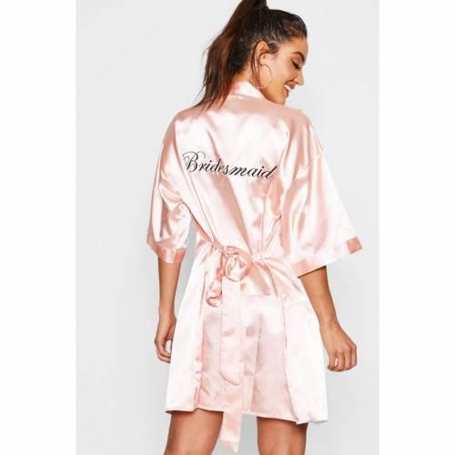 ファッションブランド カジュアル ファッション ブーフー BOOHOO サテン BRIDESMAID SATIN ROBE バスローブ ナイト BLUSH お見舞い ナイトウエア ルーム 下着 高品質 レディース インナー