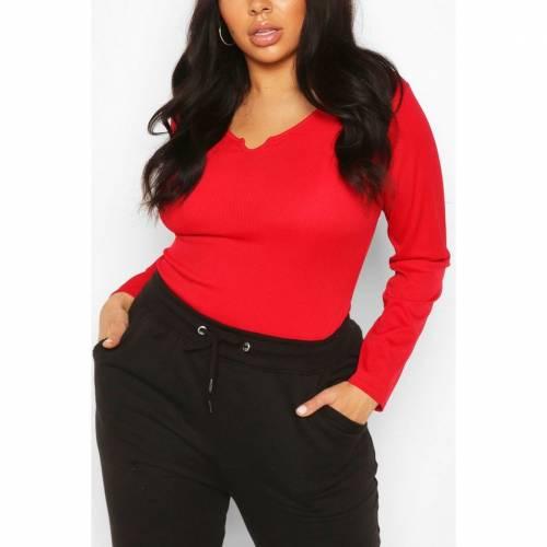 ブーフー BOOHOO Tシャツ 赤 レッド 【 RED BOOHOO PLUS RIB NOTCH FRONT LONGSLEEVE TSHIRT 】 レディースファッション トップス