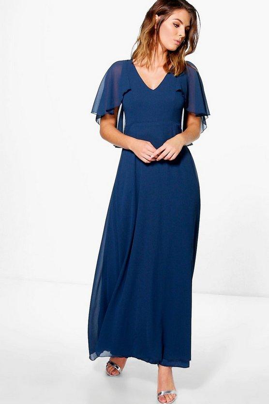 BOOHOO BOUTIQUE 【 CHIFFON CAPE DETAIL MAXI DRESS NAVY 】 レディースファッション ワンピース