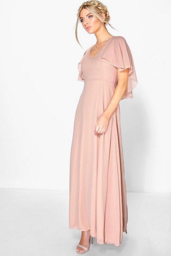 BOOHOO BOUTIQUE 【 CHIFFON CAPE DETAIL MAXI DRESS BLUSH 】 レディースファッション ワンピース