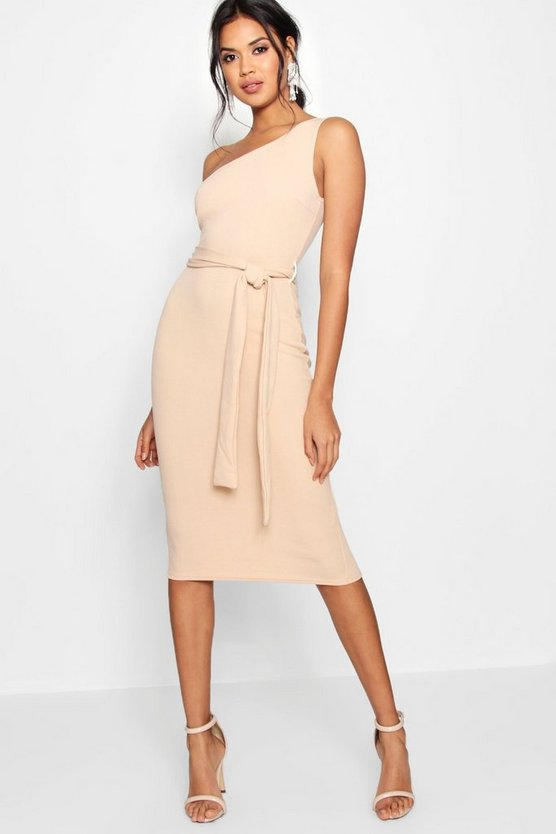 BOOHOO BOUTIQUE ドレス 【 BOOHOO BOUTIQUE ONE SHOULDER BELTED MIDI DRESS STONE 】 レディースファッション ワンピース