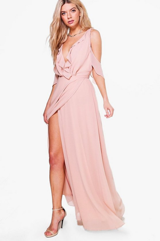 BOOHOO BOUTIQUE ラップ ドレス 【 WRAP BOOHOO BOUTIQUE CHIFFON FRILL MAXI BRIDESMAID DRESS BLUSH 】 レディースファッション ワンピース